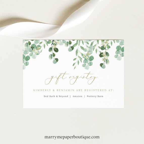 Gift Registry Card Template, Garden Greenery, Printable Wedding Registry Card, Templett, Editable, INSTANT Download