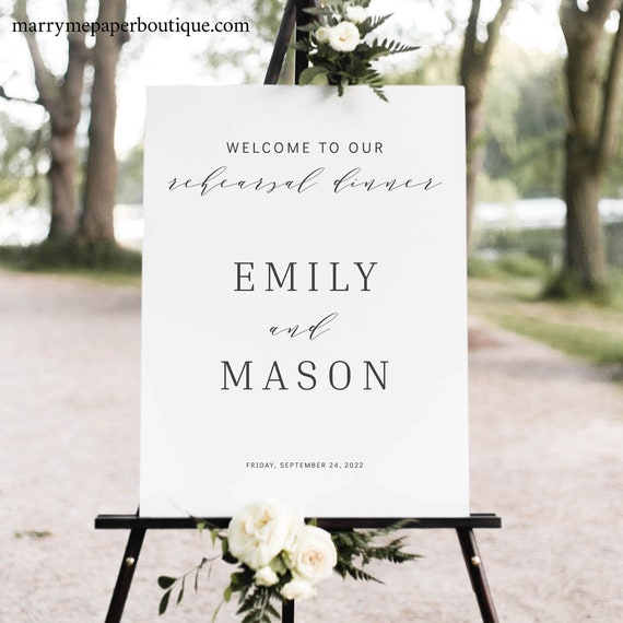 Rehearsal Dinner Welcome Sign Template, Formal & Elegant, Templett, Try Before Purchase, Editable Printable, Instant Download