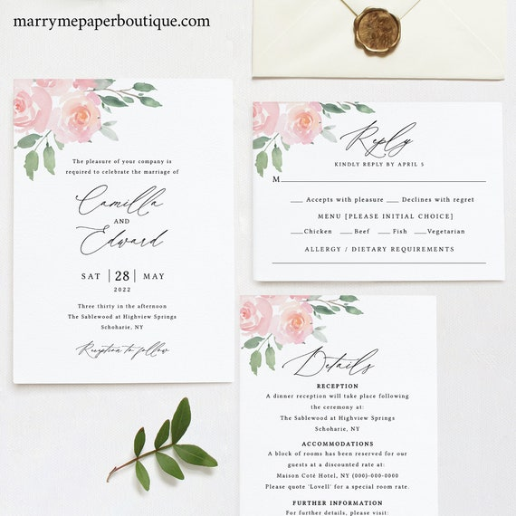 Wedding Invitation Template Set, Elegant Blush Floral, Try Before Purchase, Templett, Editable & Printable, Instant Download