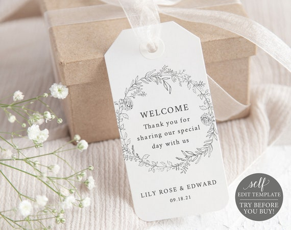 Welcome Favor Tag Template, Botanical Floral, TRY BEFORE You BUY, Self Edit Instant Download