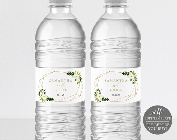 Water Bottle Label Template, Editable Instant Download, TRY BEFORE You BUY, White Floral