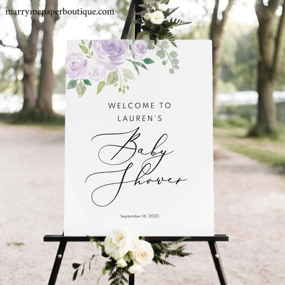 Baby Shower Welcome Sign Template, TRY BEFORE You BUY, Mauve & Lilac Floral, Editable Instant Download