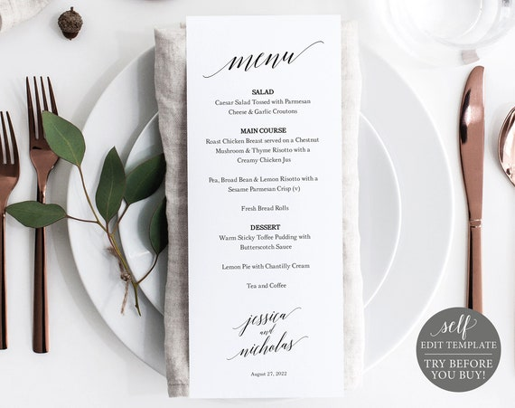 Menu Template, Calligraphy, FREE Demo Available, 100% Editable Instant Download