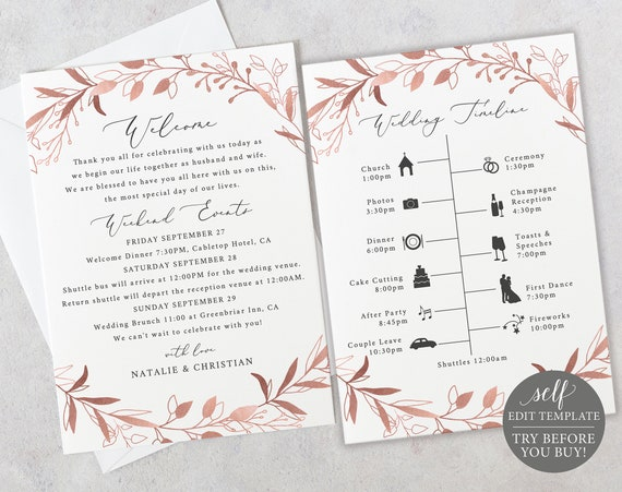 Wedding Itinerary Template, TRY BEFORE You BUY, Fully Editable Instant Download, Rose Gold Foliage