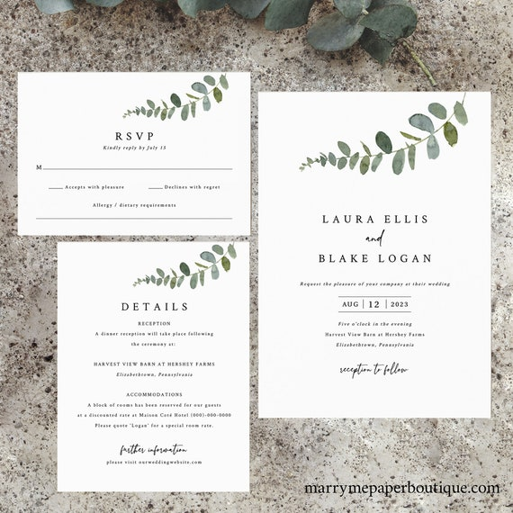 Eucalyptus Wedding Invitation Template Set, Try Before You Buy, Greenery Wedding Invites Printable, Templett Instant Download