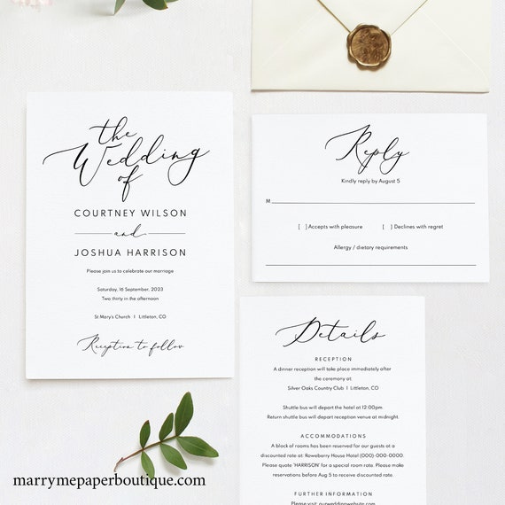 Wedding Invitation Set Template, TRY BEFORE You BUY, Printable Wedding Invite Template,  Editable, Calligraphy, Instant Download
