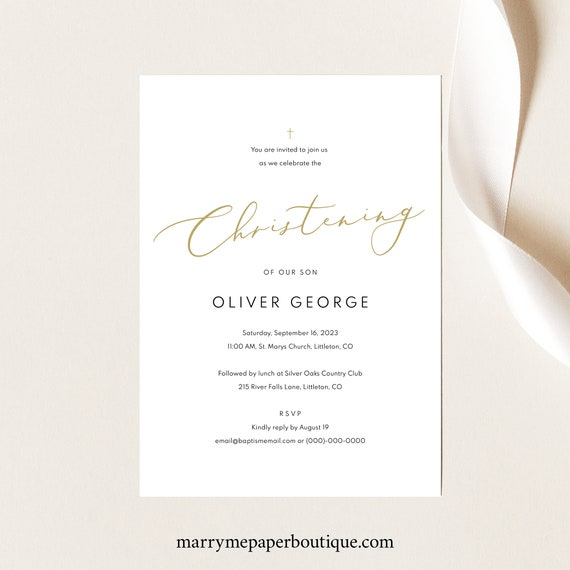 Christening Invitation Template, Gold Font, Editable & Printable Instant Download, Demo Available