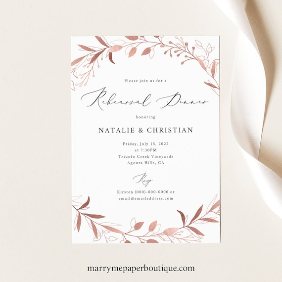 Rehearsal Dinner Invitation Template, Rose Gold Foliage, Editable & Printable, Instant Download, Templett, Try Before Purchase