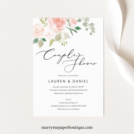 Couples Shower Invitation Template,  Editable Download, Pink & Blush Floral, TRY BEFORE You Buy, Wedding Shower Invite Printable