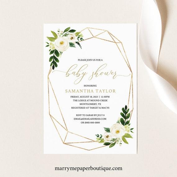 White Floral Baby Shower Invitation Template, Printable Shower Invite, Geometric, Editable, Templett, INSTANT Download