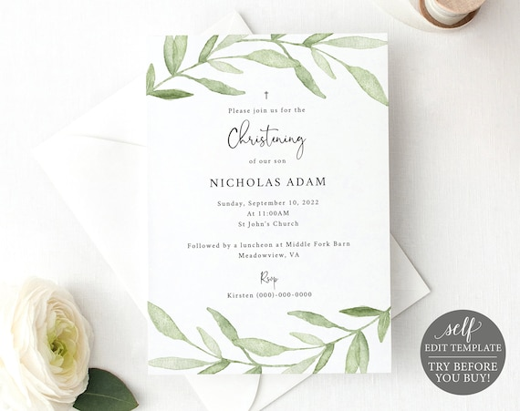 Christening Invitation Template, Greenery Leaves, Editable & Printable Instant Download, Demo Available
