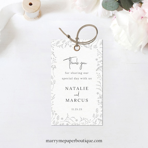 Winter Wedding Favor Tag Template, Editable Wedding Gift Tag Printable, Templett, INSTANT Download