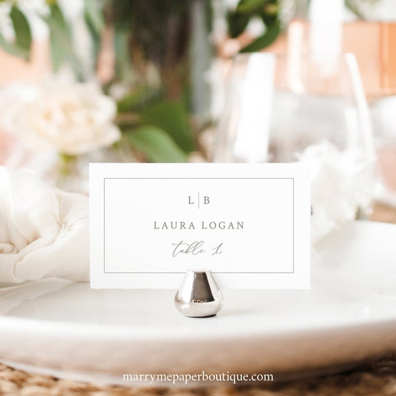 Wedding Place Card Template, Monogram & Border, Tent And Flat Versions, Elegant Place Card, Printable, Editable, Templett INSTANT Download