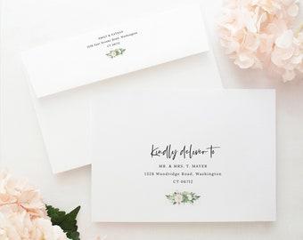 Envelope Addressing Template, Succulent Floral, Wedding Envelope Address Printable, Editable, Templett INSTANT Download