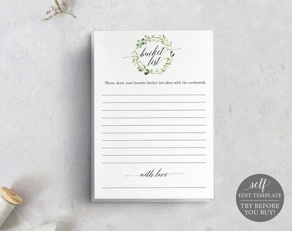 Bucket List Card Template, TRY BEFORE You BUY, Greenery, Editable Instant Download