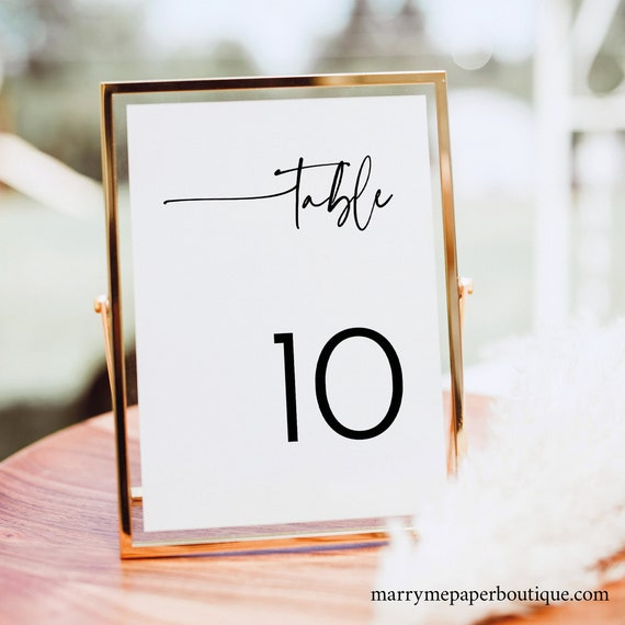 Table Number Sign Template, Modern Contemporary, Clean Simple Wedding Table Number, Printable, Editable, Templett INSTANT Download