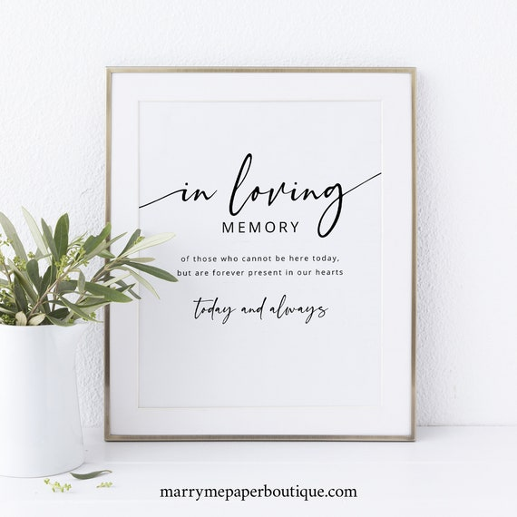 In Loving Memory Sign Template, Modern Calligraphy, Printable, Instant Download, Non-Editable