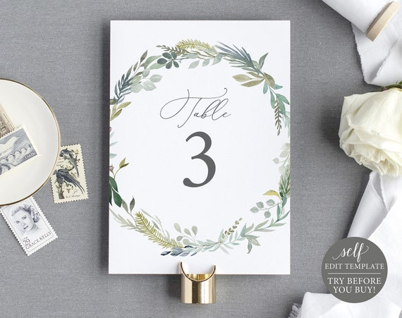 Table Number Template, 100% Editable Instant Download, TRY BEFORE You BUY, Greenery & Blue