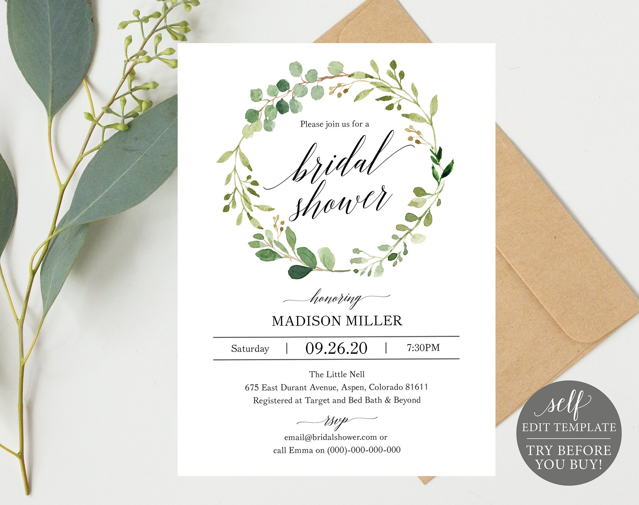 photograph relating to Printable Bridal Shower Invitations known as Greenery Wedding day Bridal Shower Invitation Template, Printable Bridal Shower Invite, Editable Wedding day Shower, Prompt Obtain