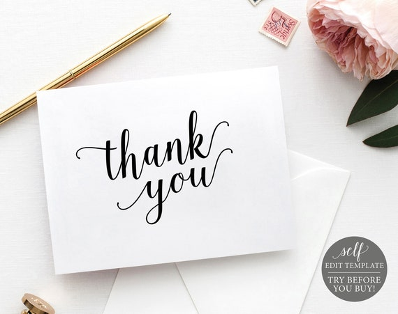 Thank You Card Template, Modern Script, Editable & Printable Instant Download, Templett, TRY BEFORE You Buy