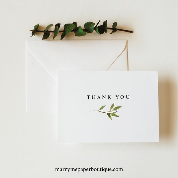 Greenery Thank You Card Template, Green Leaf, Folded Card, Printable, Templett Editable, Instant Download