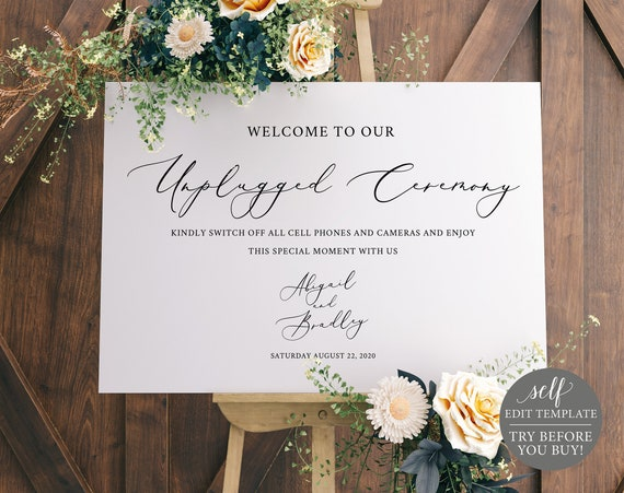 Unplugged Ceremony Sign Template, Elegant Script, 100% Editable Instant Download, TRY BEFORE You BUY