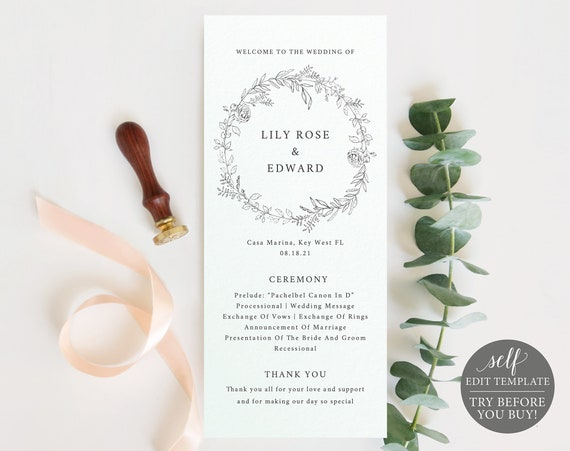Wedding Program Template, Editable Printable Instant Download, TRY Before You BUY, Botanical Floral