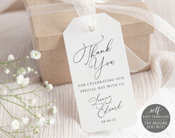 Favor Tag Template, Minimalist Portrait, Templett, Editable & Printable Instant Download