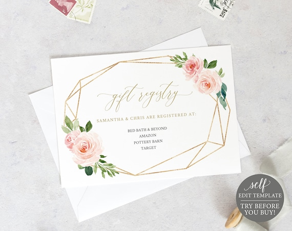 Gift Registry Template, TRY BEFORE You BUY, Fully Editable Instant Download, Blush Floral Geometric
