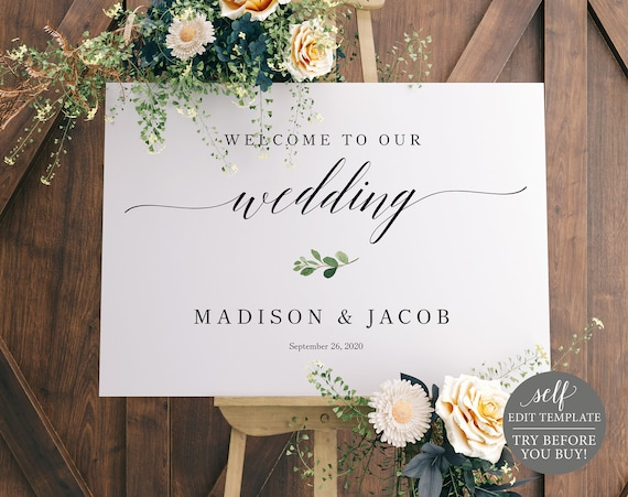 Welcome Sign Template, TRY BEFORE You BUY, Wedding Sign Printable, Self-Edit, Instant Download, Greenery