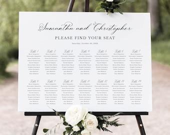 Wedding Seating Chart Template, Elegant Romantic Script, Table Seating Plan Sign Printable, Editable, Templett INSTANT Download