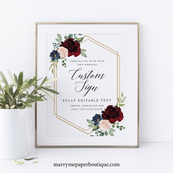 Create MULTIPLE Signs Template, Burgundy Navy, Printable Editable Instant Download, Demo Available