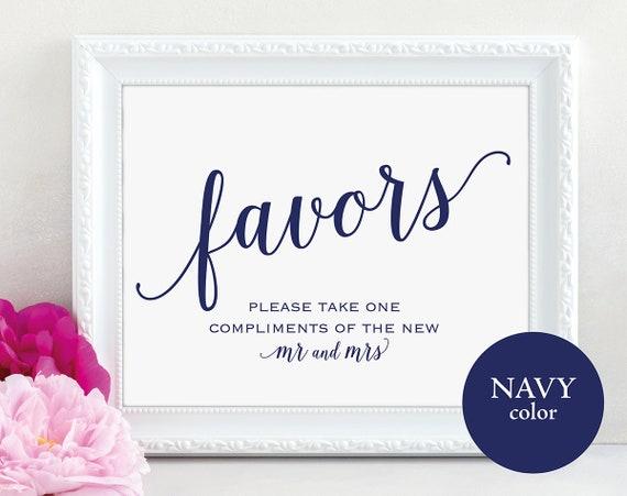 Navy Wedding Favor Sign, Mr and Mrs, Favors Sign, Wedding Favor Printable, Wedding Printable, Wedding Template, PDF Instant Download, MM01-4