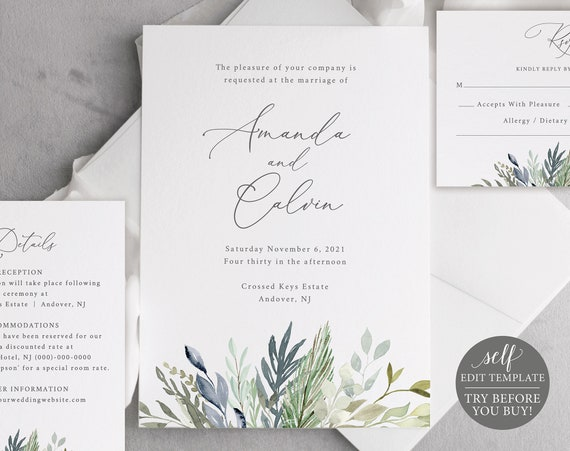 Wedding Invitation Template Set, FREE Demo Available, Editable Instant Download, Greenery Blue Foliage