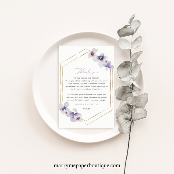Thank You Letter Template, Delicate Lilac Flowers, Thank You Note Printable, Editable, Purple Hydrangea, Templett INSTANT Download