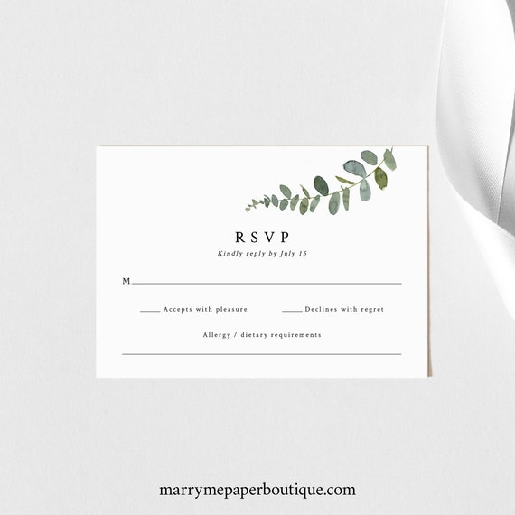 RSVP Card Template, Eucalyptus  Greenery, Printable RSVP Enclosure Card, Greenery Response Card, Editable, Templett INSTANT Download