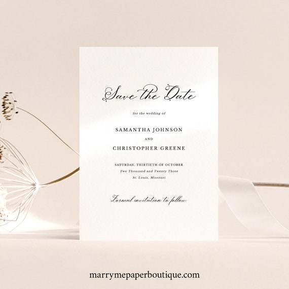 Save the Date Card Template, Elegant Romantic Script, Printable Save Our Date, Editable, Templett INSTANT Download