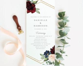 Wedding Program Template, Burgundy Navy, Demo Available, Editable & Printable Instant Download