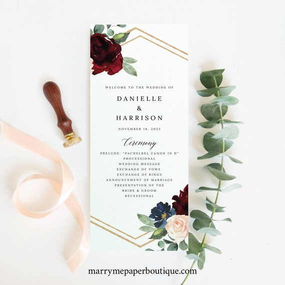 Wedding Program Template, Burgundy Navy, Demo Available, Editable & Printable Instant Download