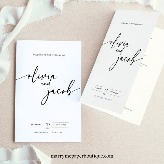 Wedding Program Template Folded, Modern Calligraphy, Editable & Printable, Try Before You Buy, Templett, Instant Download