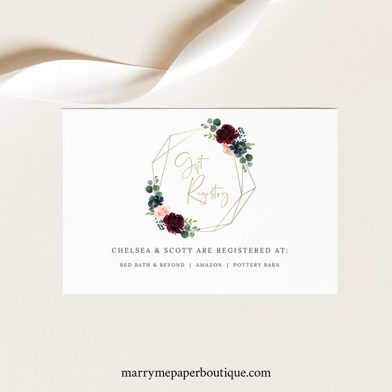 Burgundy Gift Registry Card Template, Printable Wedding Registry Card, Geometric, Navy, Templett, Editable, INSTANT Download