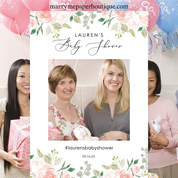 Floral Baby Shower Photo Booth Frame Template, Printable Photo Booth Prop Template, Baby Shower Selfie, Instant Download, MM08-3