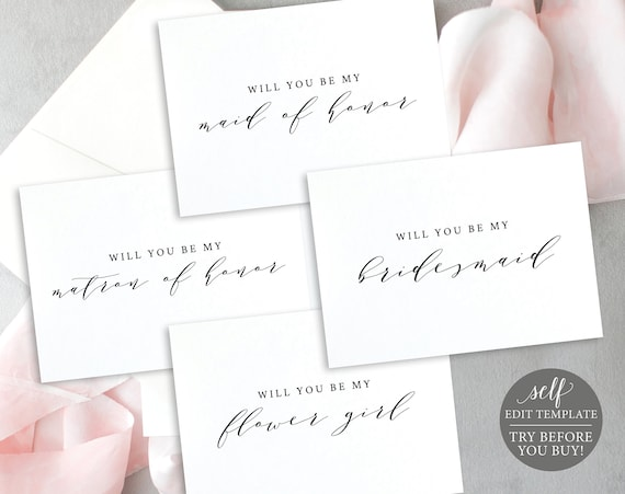 Will You Be My, Editable Wedding Bundle Templates, TRY BEFORE You BUY, Instant Download, Calligraphy