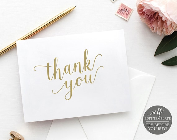 Thank You Card Template, Modern Script Gold, Editable & Printable Instant Download, TRY BEFORE You Buy, Templett