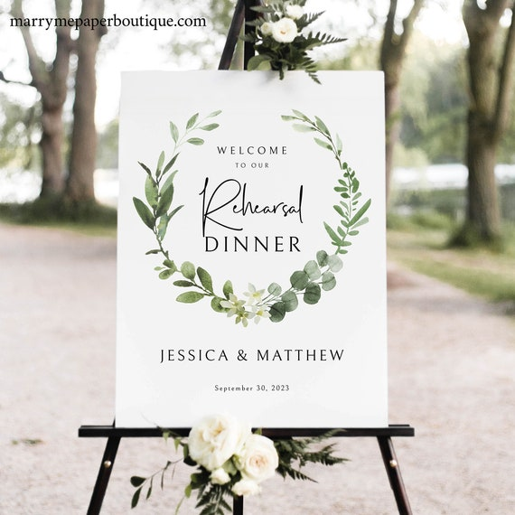 Elegant Greenery Rehearsal Dinner Welcome Sign Template, Rehearsal Dinner Sign Printable, Templett Editable, Instant Download