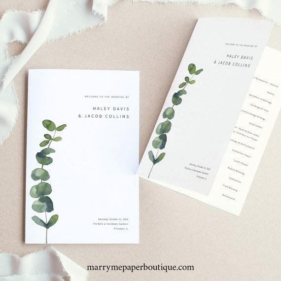 Wedding Program Template, Elegant Eucalyptus, Folded Wedding Ceremony Program, Printable, Editable, Templett INSTANT Download