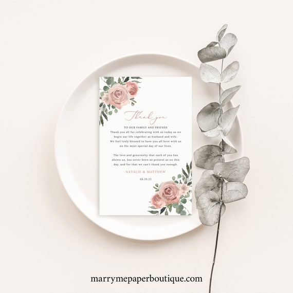 Thank You Letter Template, Dusky Pink Floral, Thank You Note, Printable, Editable, Dusty Pink, Templett INSTANT Download