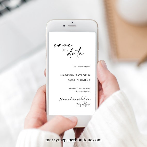 Digital Save the Date Text Invitation Template, Modern Minimalist, Save Our Date Invite, Handwritten Style, Templett INSTANT Download