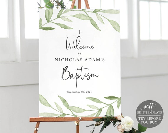 Baptism Welcome Sign Template, Greenery Leaves, TRY BEFORE You BUY, Editable Instant Download