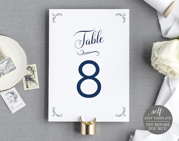Rustic Table Number Template, FREE Demo Available, 100% Editable Instant Download, Navy